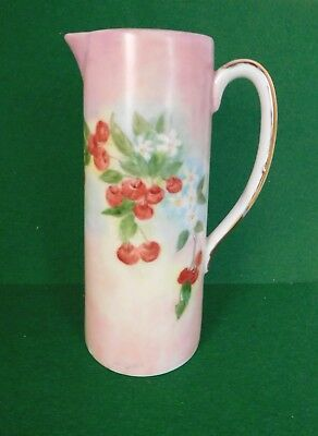 TALL CERAMIC TANKARD GILDED PITCHER w HAND PAINTED CHERRIES SIGNED