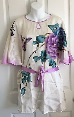 Silk Hand Painted Tunic Sz L (fits as Small) Butterfly/Floral Butterfly Sleeve