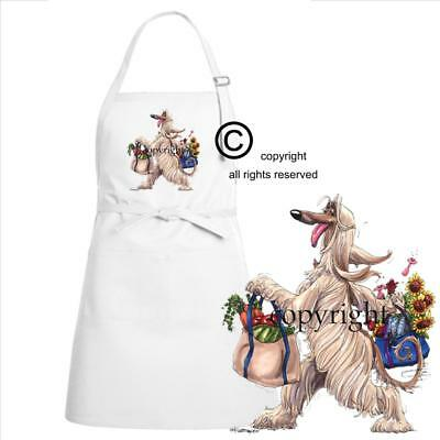 Afghan Hound Dog Breed Cartoon Caricature Grocery Shop Tote Kitchen Chef Apron