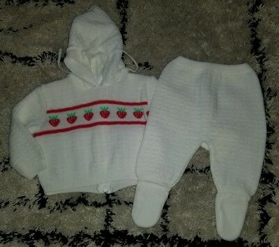 Vintage 1980's girls 6-12 months 2 piece white sweater hoodie pants strawberry