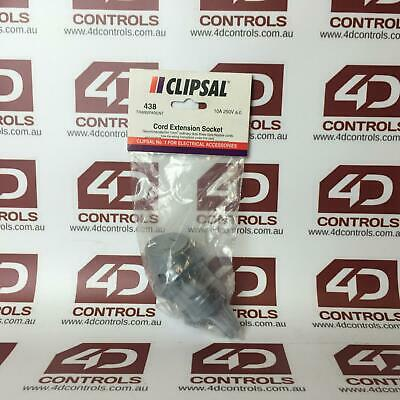 Clipsal 438/10A Flexible Cord Extension Socket 250VAC 10A 3 Pin - New Surplus...