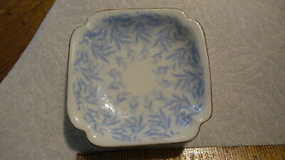 Antique T&V Limoges China BUTTER PAT Blue Floral Fronds, Square