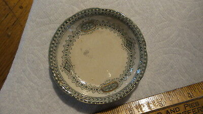 Antique Burgess & Leigh China BUTTER PAT Oalmeny, England, Green Pattern
