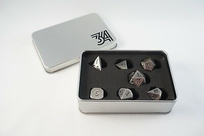 Polyhedral Metal Dice Antique Nickel finish 7 Piece Gaming Dice Set w/  Case