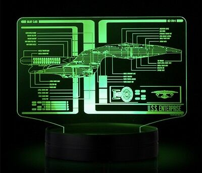 Star Trek Schematic Illuminated Display TOS AND TNG 7 COLORS LED USS ENTERPRISE
