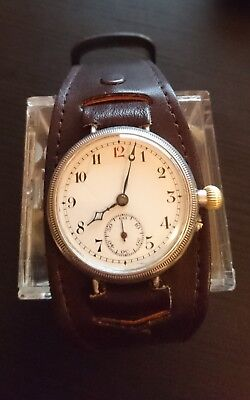 Vintage,World War I, Sterling Silver B&Co (Longines) personalized trench watch.