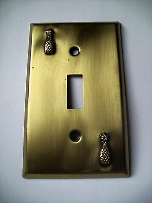 Light Switch Plate Cover  Brass Single Toggle - WELCOME PINEAPPLE DESIGN