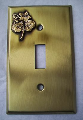 Light Switch Plate Cover  Brass Single Toggle -VIOLET FLOWER  DESIGN