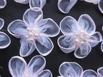 Organza Ribbon Pale Pink Flowers Iridescent Bead Centre  approx 35mm Set of 30
