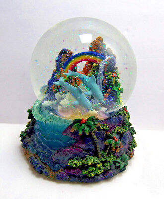 Christian Riese Lassen Musical Water Globe Dolphins Rainbow Waterfall Hawaii EUC