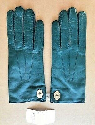 New COACH Merino Wool Lined Leather Gloves Morrocan Blue Woman Size 7.5