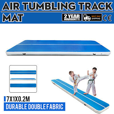 23Ft Air Track Floor Tumbling Inflatable Gym Mat Blue Mat Gymnastic Gym Mats