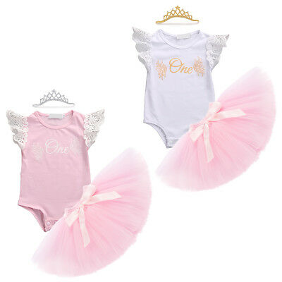 Baby Girls 3pcs Sets 1st One Birthday Cake Smash Crown Tutu Romper Outfit Photo