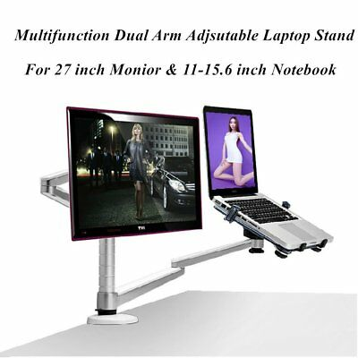 "2-in-1 Dual Arms Monitor & Laptop Mount For 10-15""Laptop UP to 32""Monitor Lot QB"