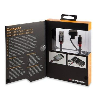 Monster MM Connect2 Micro/Dock Kable (30-polig) mit USB auf Micro-USB, NEU
