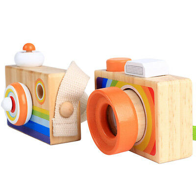 Kids Wooden Toy Camera Kaleidoscope Natural Wood Gift Baby Children Photography
