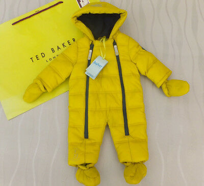 Ted Baker Baby Boys Quilted Lime Snowsuit Coat Shower Resistant Bnwt 0-3 Months