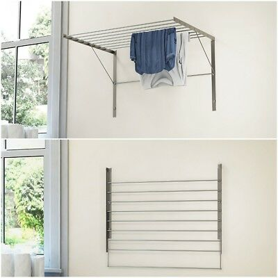 clothes drying rack wall mount stainless steel folding adjustable collapsible picclick. Black Bedroom Furniture Sets. Home Design Ideas