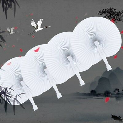 Chinese  DIY Portable White Manual Work Summer Cooling Round Folding Hand Fan