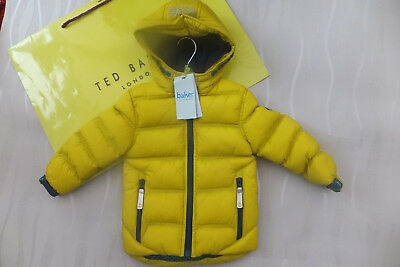 Ted Baker Baby Boys yellow padded coat Shower Resistant Bnwt 2-3 yrs