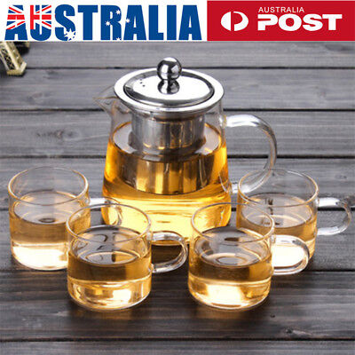 Heat Resistant Clear Glass Teapot With Infuser Coffee Tea Leaf Herbal Pot AU!