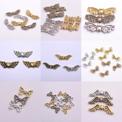 50Pcs Tibetan Silver, Gold, Bronze, Angel Wings Spacer Charms Beads B57