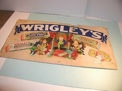 "1920's-30's "" Wrigley's "" Chewing Gum Cardboard Sign"