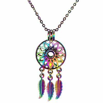 Rainbow Color Dream Catcher Pearl Beads Cage Necklace