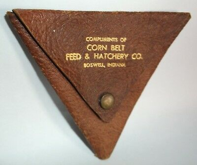 """Vintage """"Corn Belt Feed & Hatchery Co."""" Boswell Indiana Advertising Coin Purse ?"""