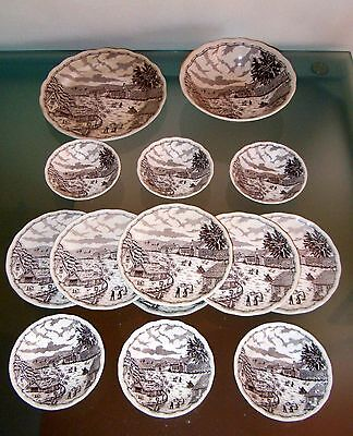 Swiss Landscape Ceramics Service 14 Piece Made in Italy Porcelain Plates
