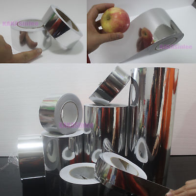 Beauty Tape - PVC Adhesive Glossy Mirror Chrome Vinyl Wrap Sticker Silver - AB