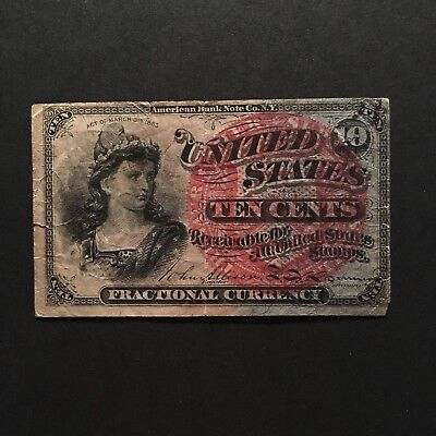 TEN CENTS FOURTH ISSUE 1863 FRACTIONAL CURRENCY Fr# 1258 10 Cents Note Sharp VF