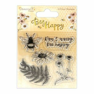 Motiv-Stempel Clear-stamps Set Bee Happy Biene Blume Farn Dovecraft DIY DCSTP129