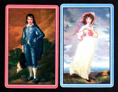 Vintage Swap/Playing Cards - The Pink Girl & The Blue Boy Pair (LINEN)