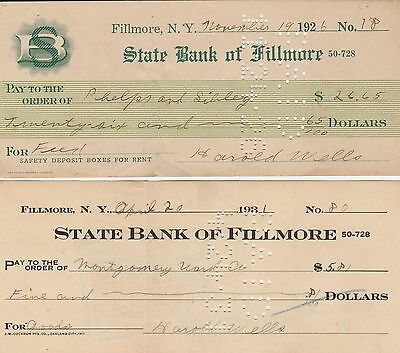 Fillmore NY, State Bank of Fillmore, Checks, 1926 & 1931, Two Different Checks