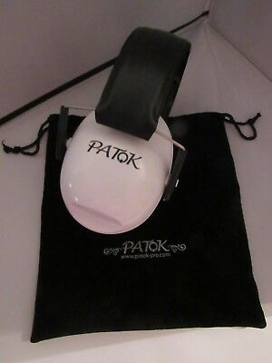 PATOK Adjustable Ear Protectors – White with Pouch – New