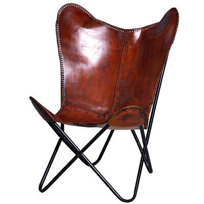 Usa Made Genuine Leather Butterfly Chair Folding Lounge Modern Sling Accent  Seat