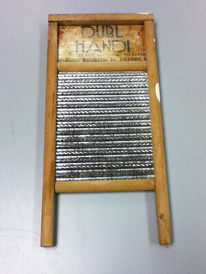 Vintage antique primitive wooden Zince Dubl Handi Columbus washboard clothes UD2