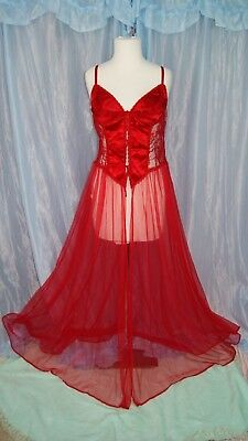 Vintage Frederick's of Hollywood Red Lingerie Long Chiffon Gorgeous! Large
