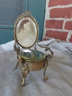 Antique Victorian French Boudoir Gold Gilt Ormolu Chair Jewel Case Box Vitrine