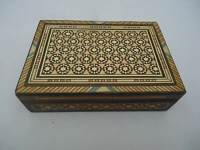 Vintage inlaid mosaic marquetry wood wooden box