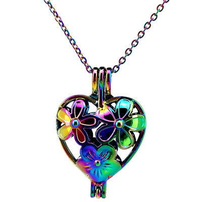 C401 Rainbow Multi Color Heart Flower Beads Cage Locket Necklace