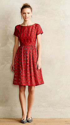 Anthropologie Vintage Retro Moulinette Soeurs Red Rubied Lace Dress 8 188