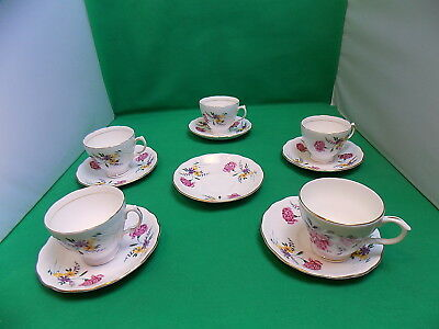 Royal Vale Carnation 5 Cups & 6 Saucers