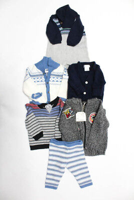 Splendid  Janie And Jack Lot 6 White Blue Grey Zip Up Sweater Size 6-9 Months