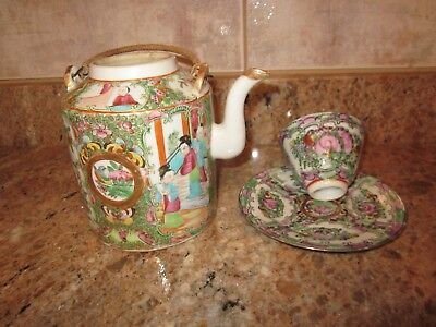 Chinese Export 1860 s  Qing Guangxu Famille Rose Fleur Teapot and teacup.saucer