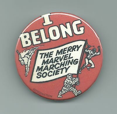Merry Marvel Marching Society Fan Club Pin Button Marvelmania 1964 Repro M.M.M.S