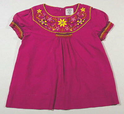 Logg By H & M Girls 4 5 Top Purple Embroidered Flowers Floral Shirt