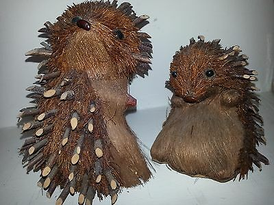 2 Porcupine figures Natural Woodland Creatures Twigs for quills Beans for Nose