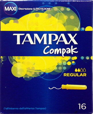 80 Tampax Compak Regular Maxi 5 Paquetes de 16 PC Absorbentes Interior